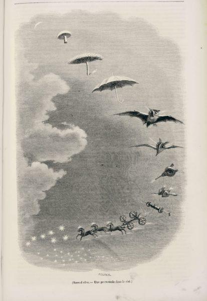 "In Grandville (""Une promenade dans le ciel"", 1847) verehrte André Breton einen Wegbereiter des Surrealismus. (Foto: Antiquariat Bibermühle AG)"